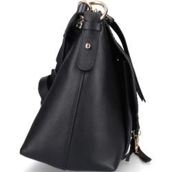 Handtasche Joan Kalbsleder Veloursleder Logo Metallisch schwarz Chloé