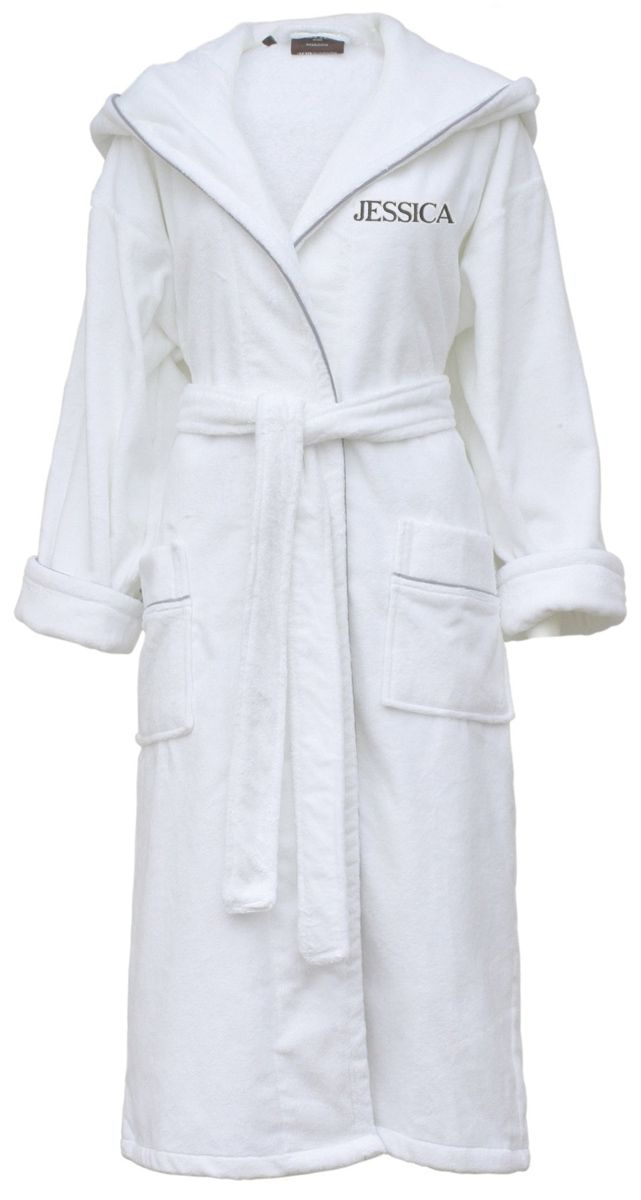 Cowdray white luxury hooded cotton velour dressing gown by ...
