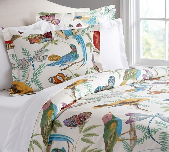 Fauna Bird Print Organic Duvet Cover Amp Sham In 2019 Room