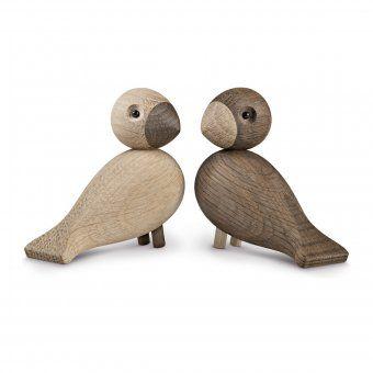 Holzfiguren unzertrennliche Singvögel 2er-Set