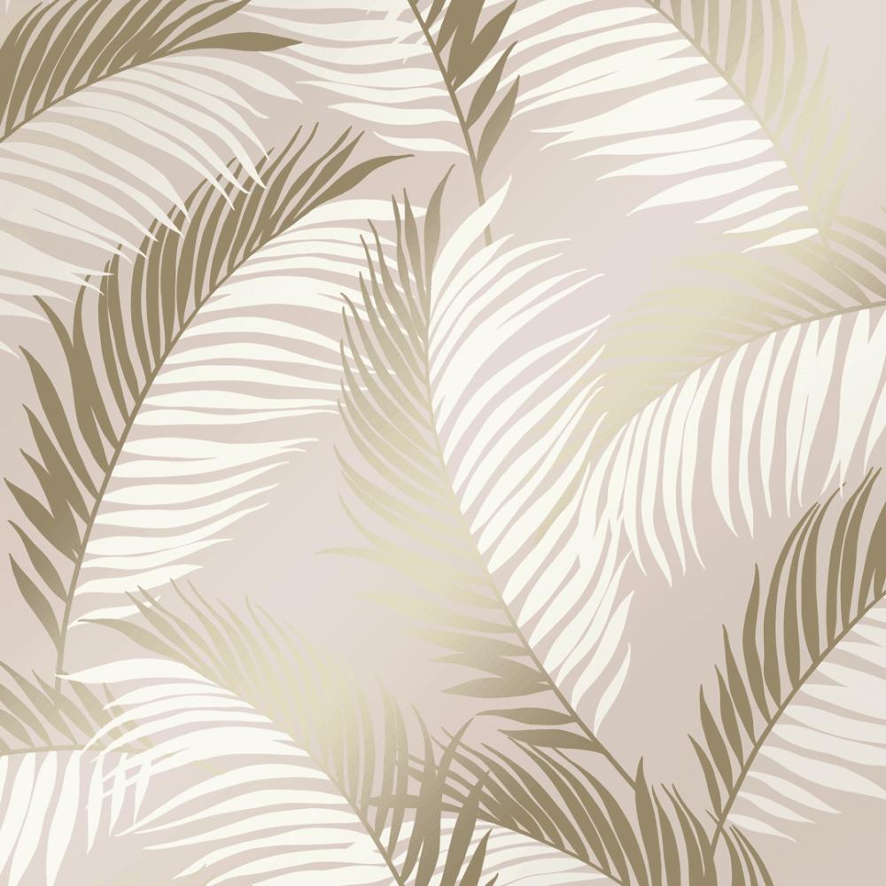 Vivienne Leaf Wallpaper Blush Gold Leaf Wallpaper Feather Wallpaper Feature Wallpaper