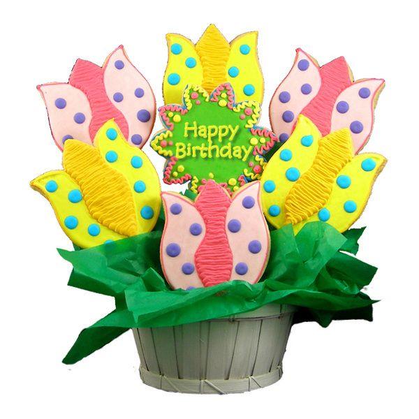 Blooming Birthday Tulips Sugar Cookie Bouquet Easter cookies