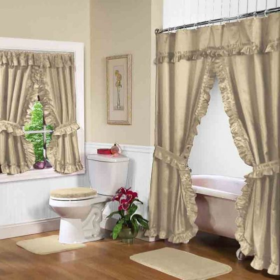 Linen Double Swag Shower Curtain W Available Window Curtain