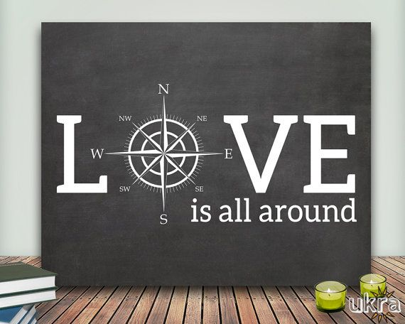 Love Printable,Love Art Print,Printable Art Wall Decor,Chalkboard Print,Instant Download,Valentines Day Print,Compass Print,Love Quote