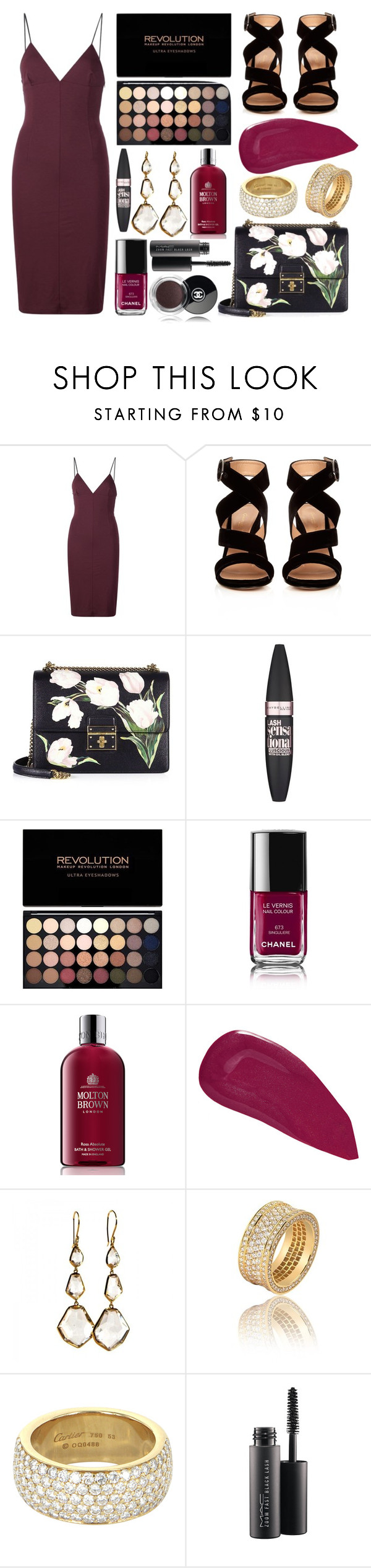 """Rosalia"" by lauren200067 ❤ liked on Polyvore featuring T By Alexander Wang, Gianvito Rossi, Dolce&Gabbana, Maybelline, Chanel, Molton Brown, Christian Louboutin, Ippolita, Cartier and MAC Cosmetics"