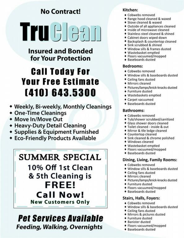 TruClean\u0027 House Cleaning Flyer \u2026 Pinteres\u2026