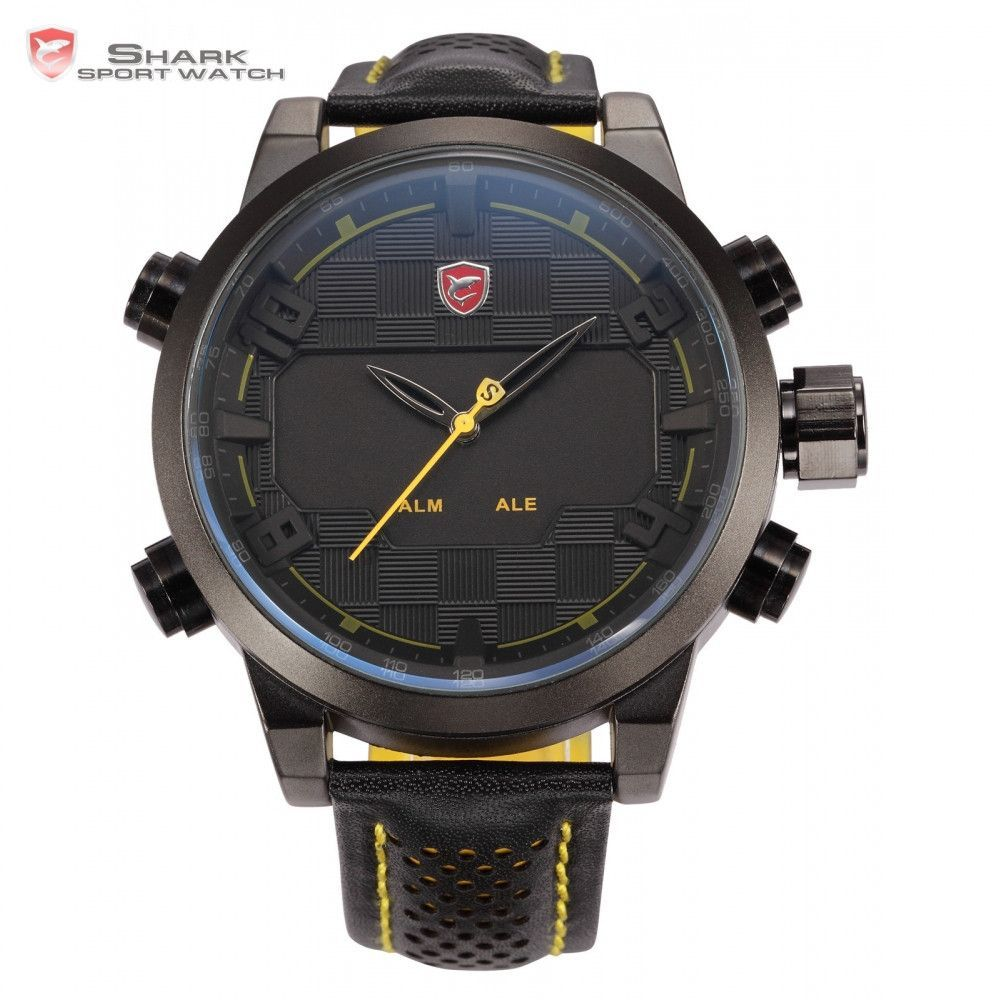 Shark Sport Watch Mens Black Yellow Digital Dual Movement Display 3D Logo Steel Case LED Watches Leather Wristwatch Gift / SH204