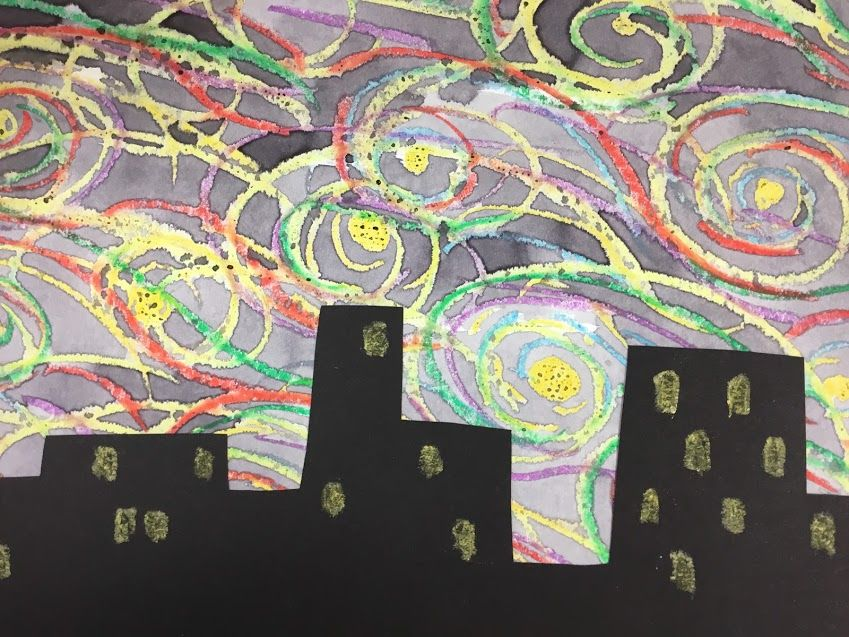 Students looked at VanGogh's Starry Night. They created