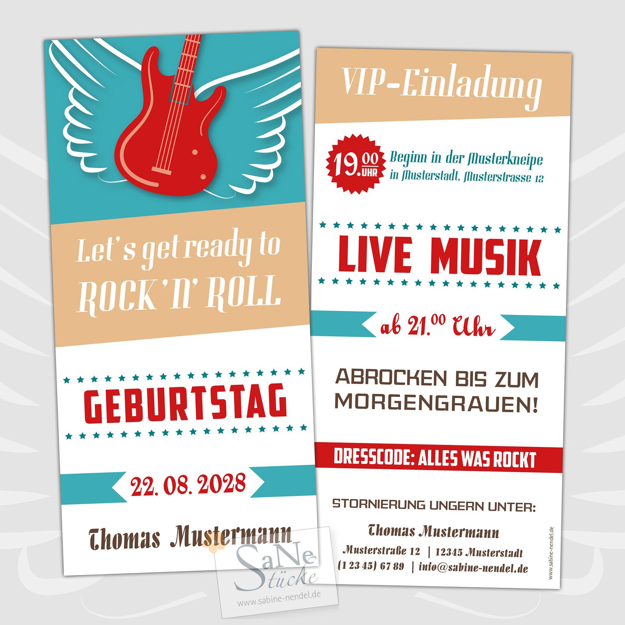 Individuelle Rockabilly Einladungskarten Zum Geburtstag Fur Alle