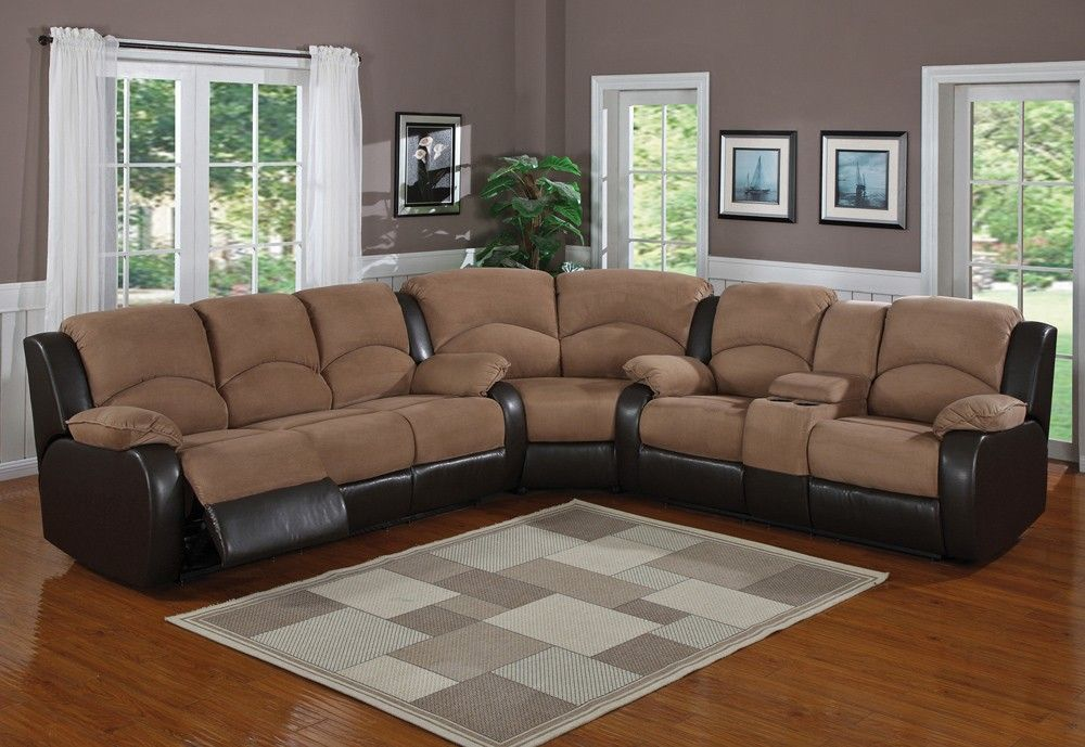 Furniture U0026 Design :: Living Room Furniture :: Sofas And Sets :: Sectional  Sofas :: 3 Pc Carrie Two Tone Saddle Padded Microfiber And Dark Brown  Leather ...