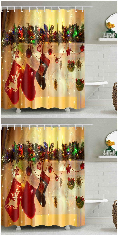 Hanging Gift Sock Printed Christmas Waterproof Shower Curtain