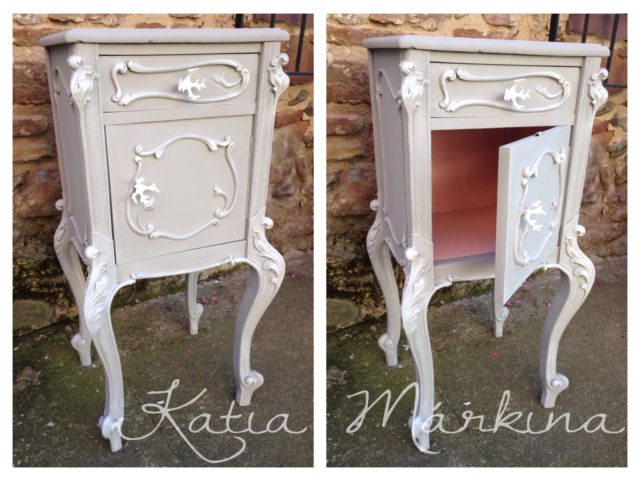Mesita de noche pintada a mano con chalk paint color gris for Muebles ezcaray