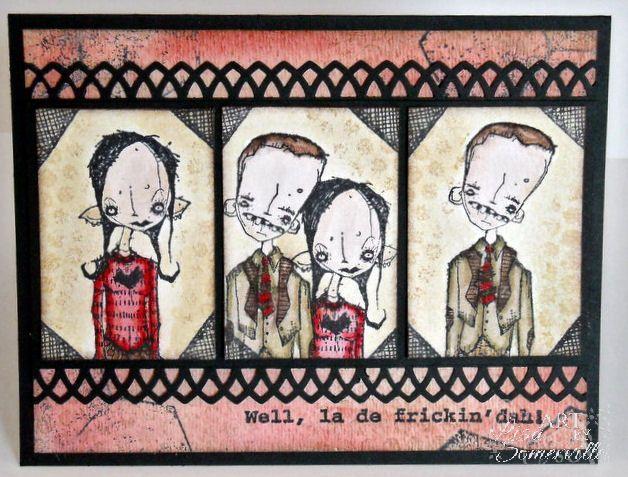 Artwork created by Lisa Somerville using rubber stamps designed by Daniel Torrente for Stampotique Originals