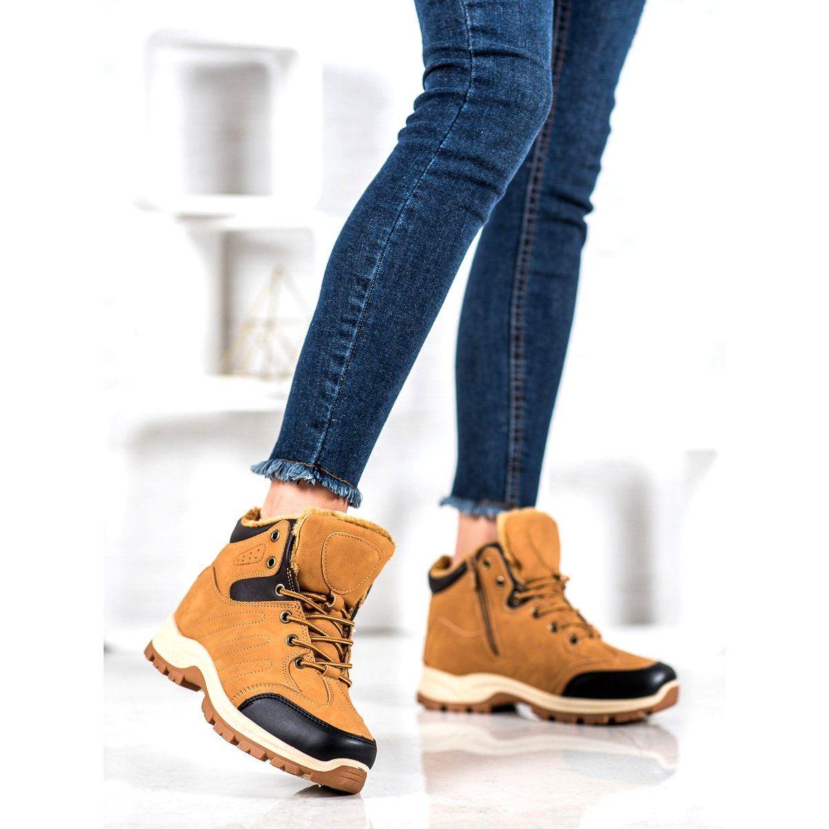 Shelovet Ocieplane Trapery Sportowe Brazowe Boot Shoes Women Boots Winter Heels