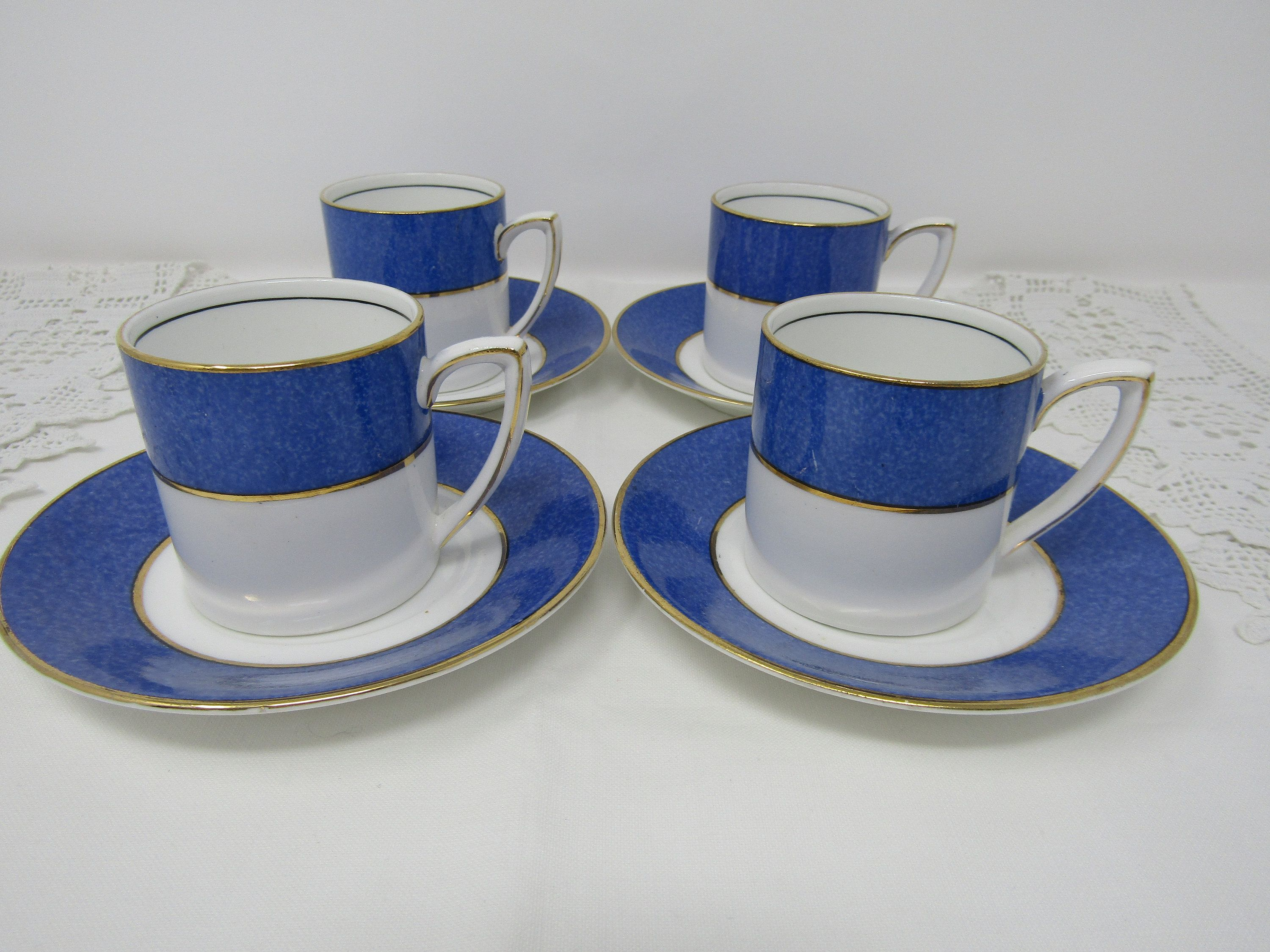 Set Of 4 Antique Demitasse Cups And Saucers From Grafton China
