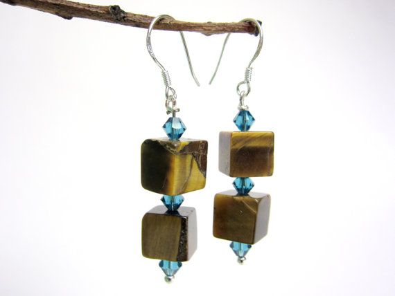 tiger eye earrings - tiger eye cubes - swarovski crystal - sterling silver ear hooks - handmade by Rockin'Lola