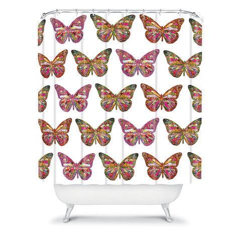 Bianca Green Butterflies Fly Shower Curtain