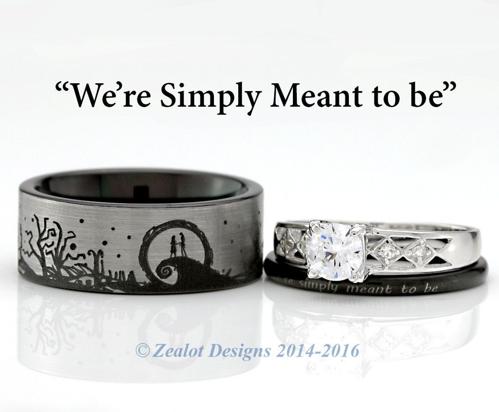 Nightmare Before Christmas His and Her\'s 3piece Engagement SET | My ...