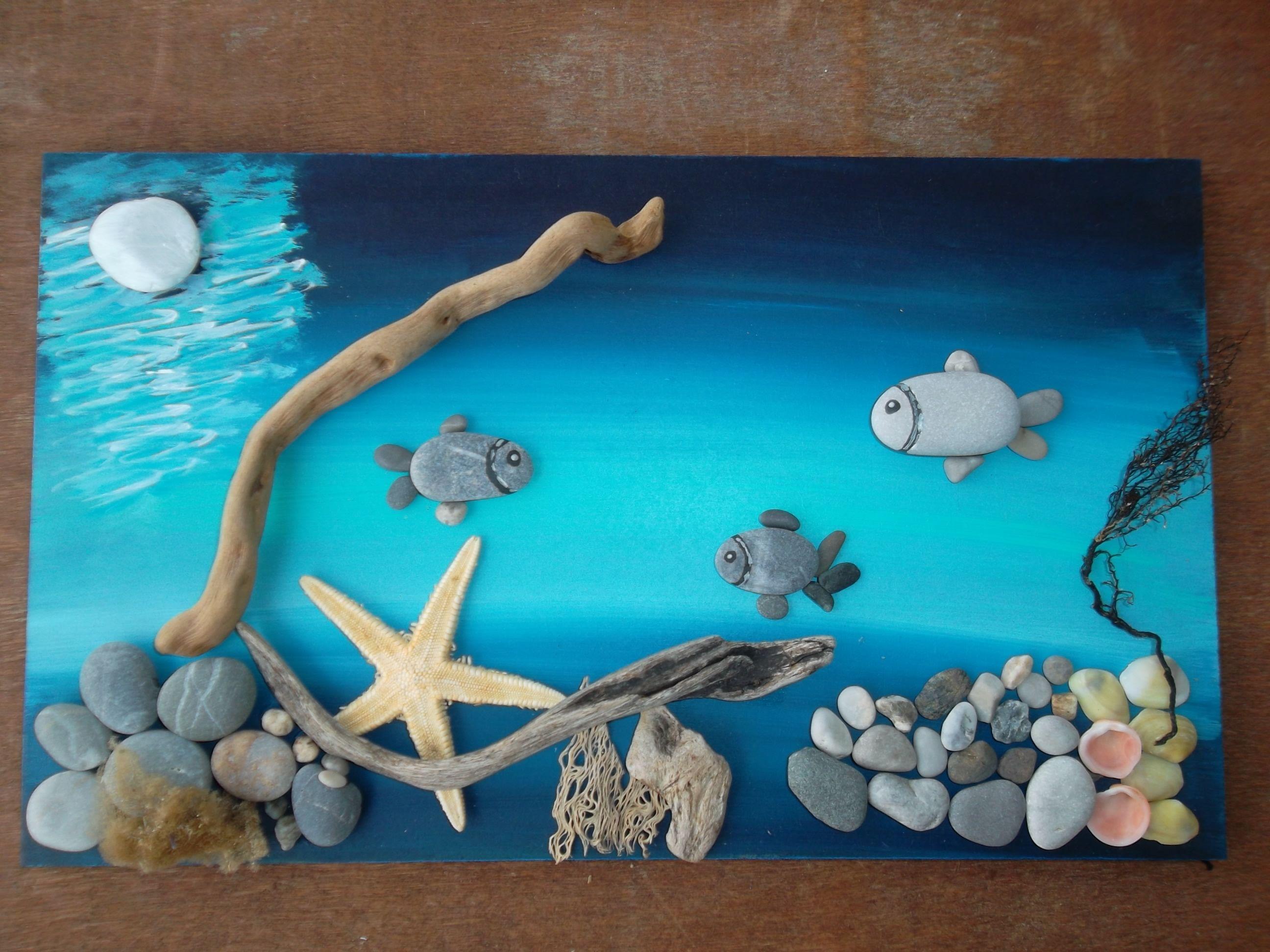 Детские морские картинки из природного материала для детского сада