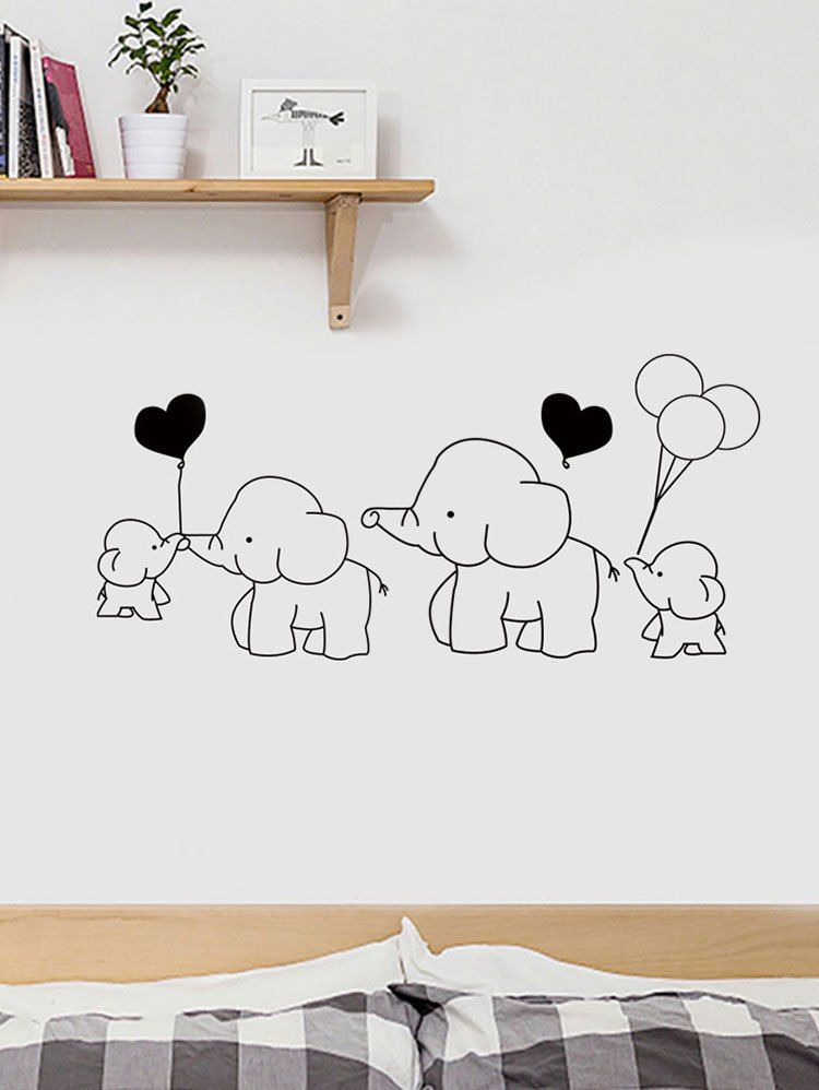 Cartoon Elephant Family Print Removable Wall Art Stickers Ad