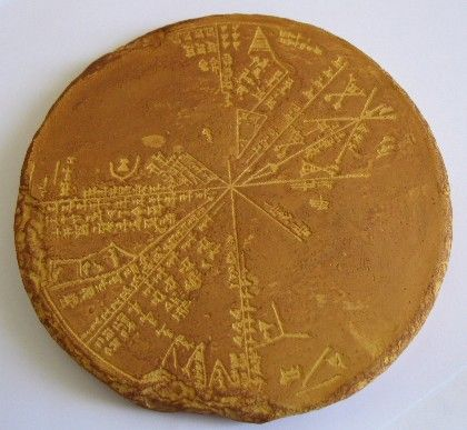 """Sumerian Star Chart. Sky Map of Ancient Nineveh. c.3300 BCE. Reproduction of a Sumerian star map or """"planisphere"""" recovered in the late 19th century from the 650 BCE underground library of Ashurbanipal. Long thought to be an Assyrian tablet, computer analysis has matched it with the sky above Mesopotamia in 3300BC and proves it to be more ancient Sumerian origin. The tablet is an """"Astrolabe"""", the earliest known astronomical instrument."""