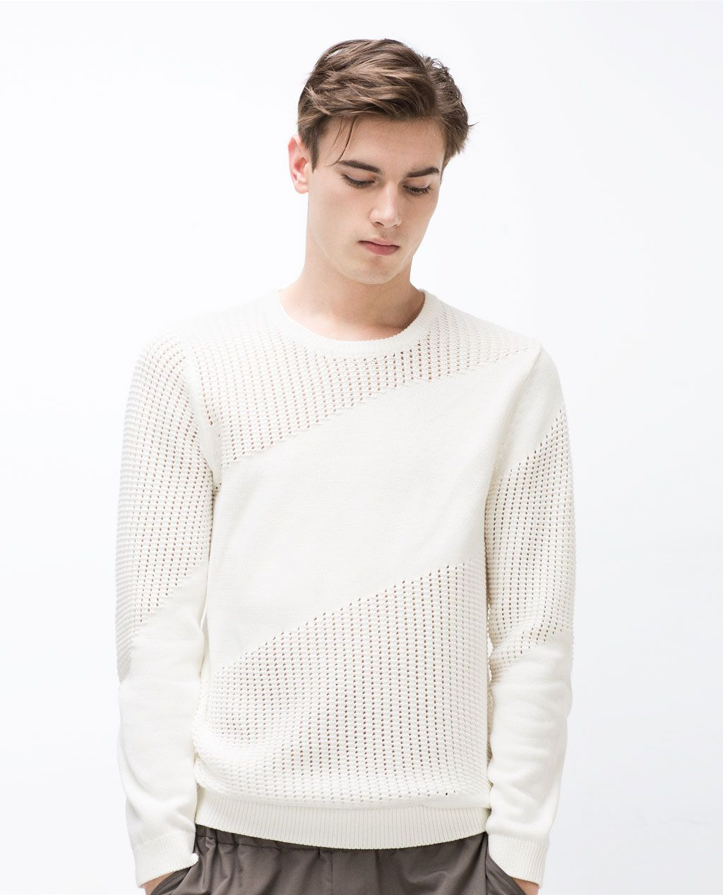DIAGONAL KNIT SWEATER - Available in more colours | KNITWEAR MEN ...