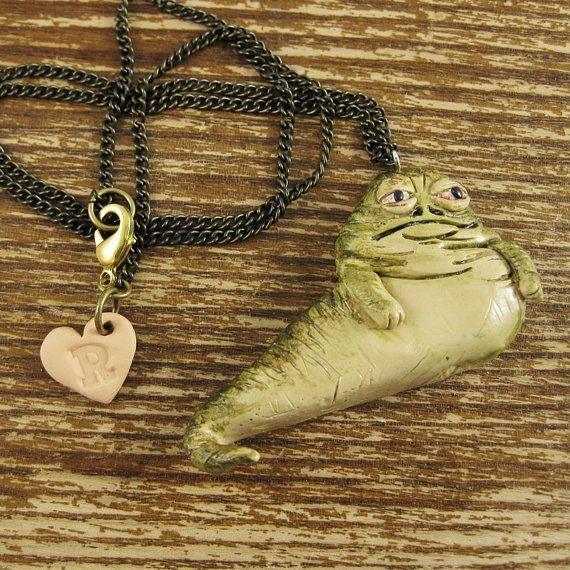 Jabba The Hutt Polymer Clay Necklace by rapscalliondesign on Etsy, $20.54