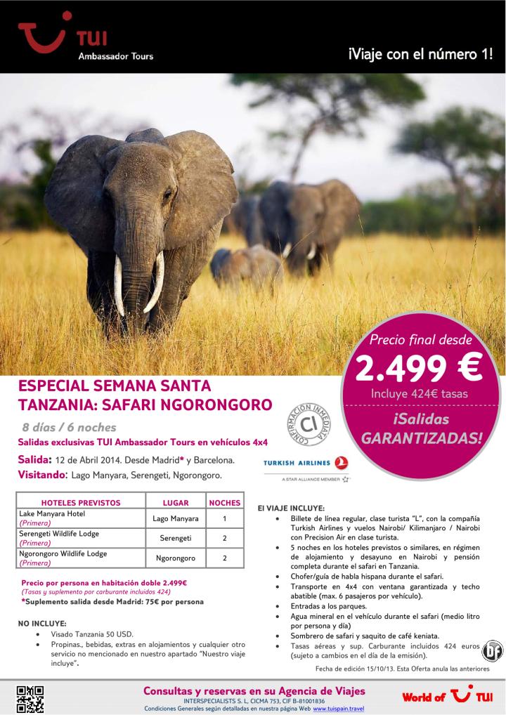 ¡Especial Semana Santa! TANZANIA Safari Ngorongoro