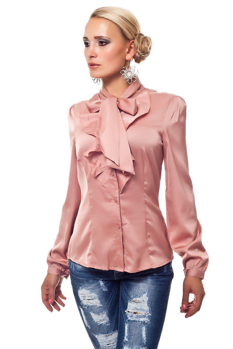 7ff028ad334f Satin Schluppenbluse rosé mit Schleife - Mädchenflohmarkt   silk ...