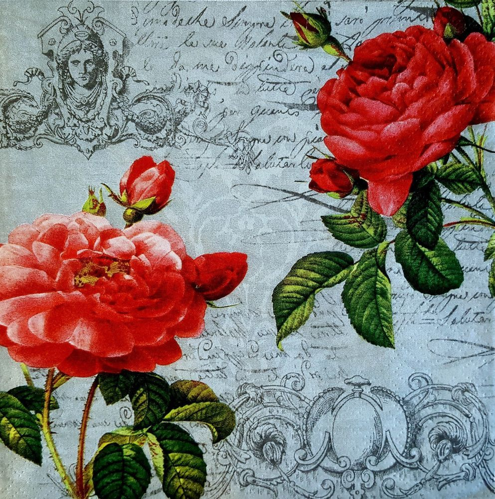 4 x Single Paper Napkins Roses for Decoupage and Craft 9
