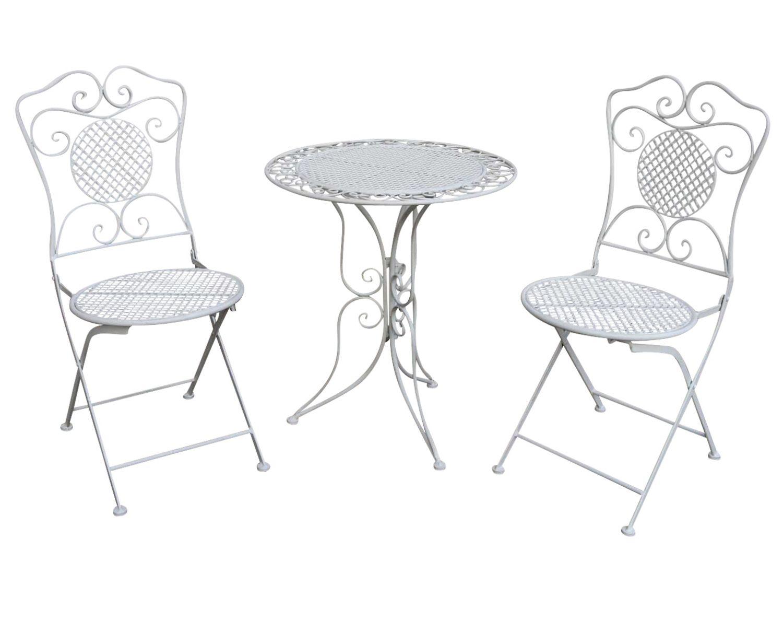 Gartenset Tisch 2 Stuhle Eisen Antik Stil Gartengarnitur Bistroset Weiss Metall Gusseiserne Gartenmobel Gartenset Dekor