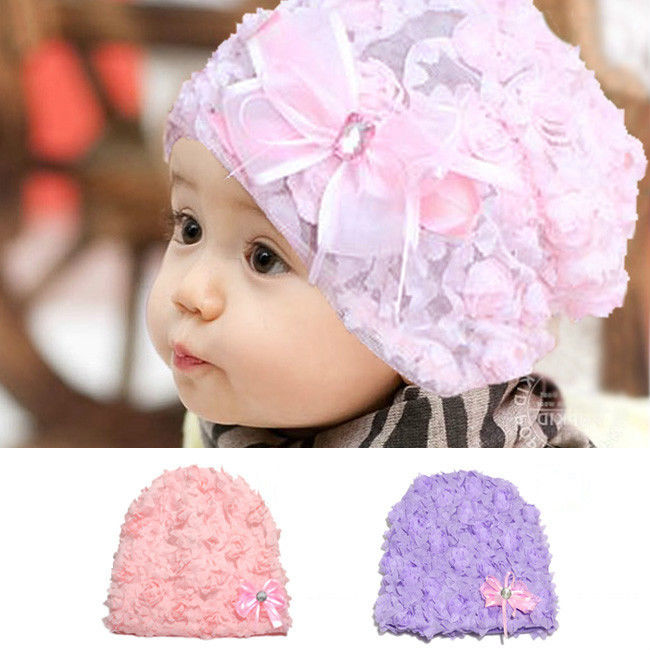 2.81 - Girls Baby Toddler Kids Flower Rose Bonnet Hat Cap Beanie Hair  Accessories  ebay  Fashion 7254c50d06e9