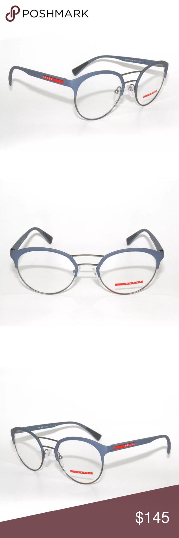 c1cf3a07fe28 PRADA Sport Rubber Blue 52H Eyeglasses Frame New Authentic Comes with Prada  case Prada Accessories Glasses