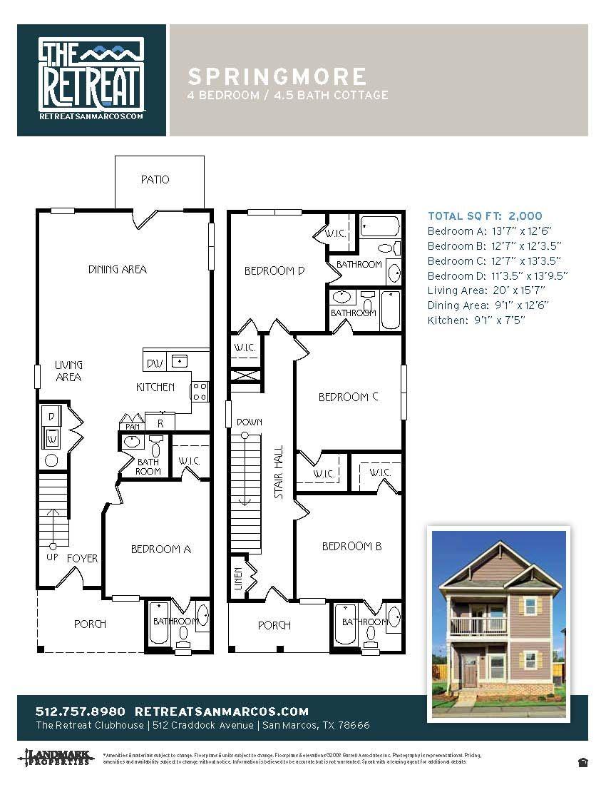 4x4.5 Springmore Cottage floor plans, Floor plans, Cottage