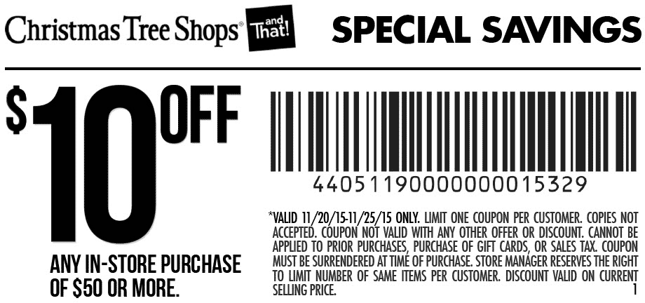 10 Off 50 At Christmas Tree Shops Christmas Tree Shop Coupon Apps Tree Shop