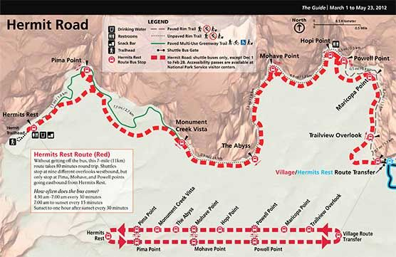 Spring 2012 Hermit Route Bus Map Grand Canyon South Rim