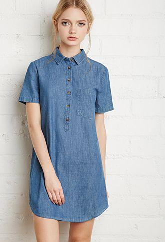 b5796ef8ecbb Denim Shirt Dress | Forever 21 | #f21denim | forever 21 | denim ...