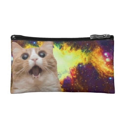 Amazed Cosmos Cat Small Cosmetics Pouch Cosmetics Bags