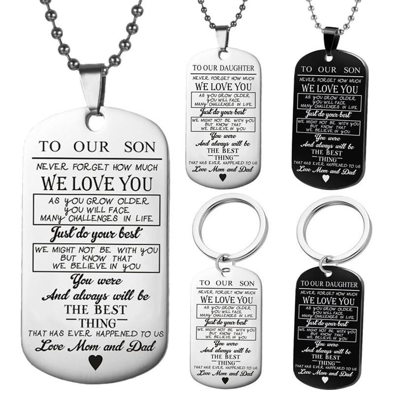 Dog tags key chain to my son daughter we love you