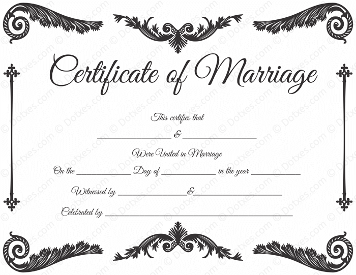 Royal Corner Marriage Certificate Format  Printable Marriage