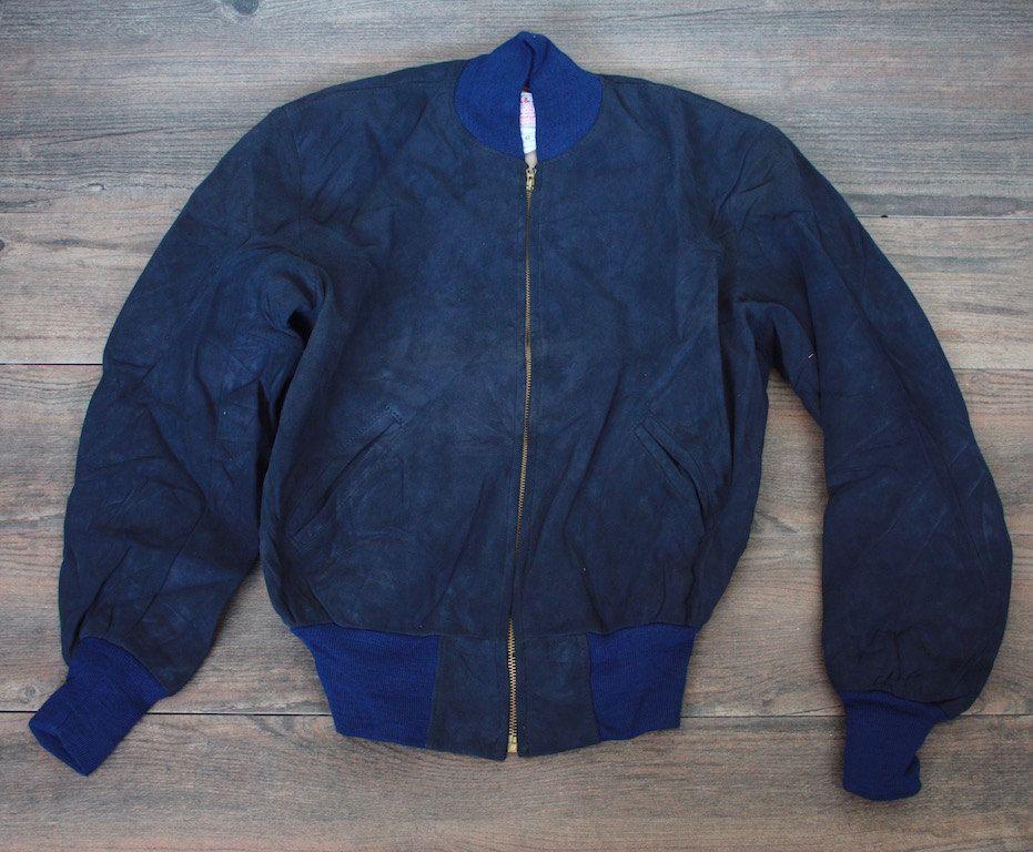 Vintage 1950 S Bomber Jacket 40s 50s Navy Blue H A Leather Suede Flight Suede Bomber Jacket Bomber Jacket Jackets