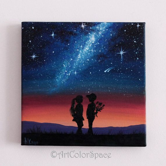 Milky Way painting st Valentine's day gifts for by ArtColorSpace