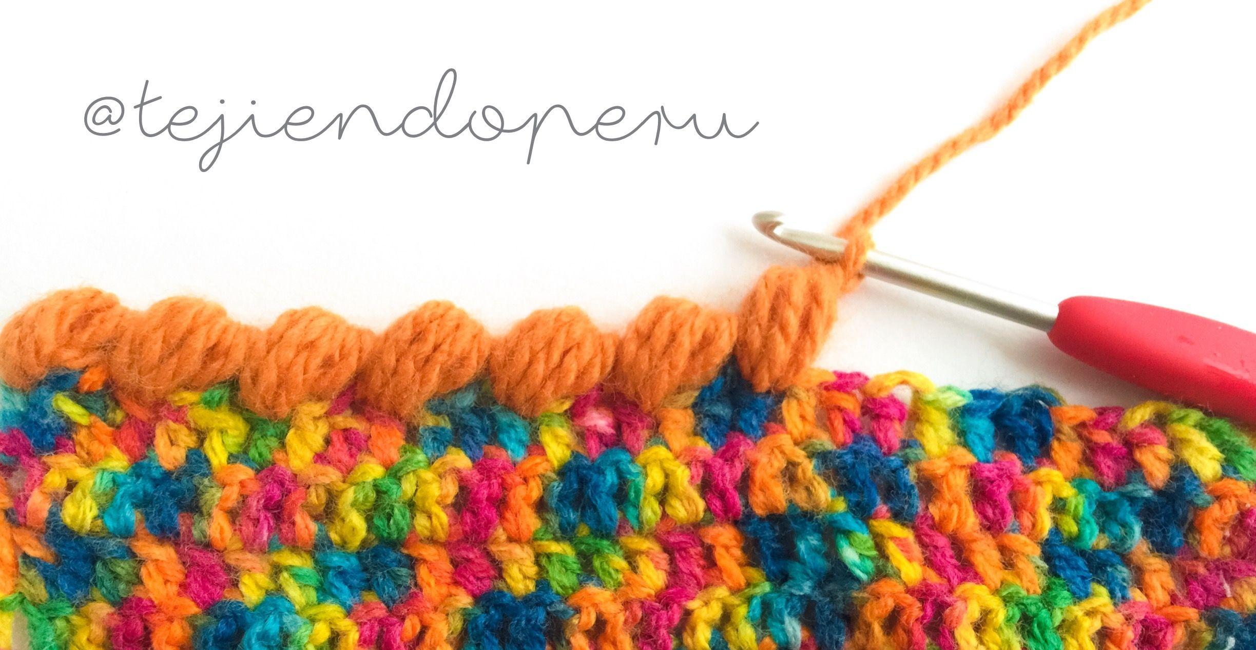 Punto cangrejo con puntos puff tejido a #crochet. Video :) | Ganxet ...