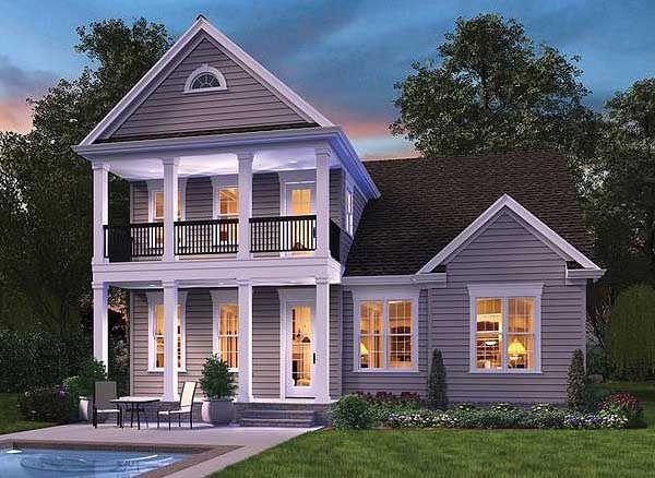 Plan w69519am southern traditional narrow lot for Narrow lot modular homes