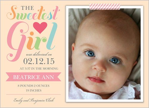 Sweetest Girl 5x7 Stationery Card by Blonde Designs