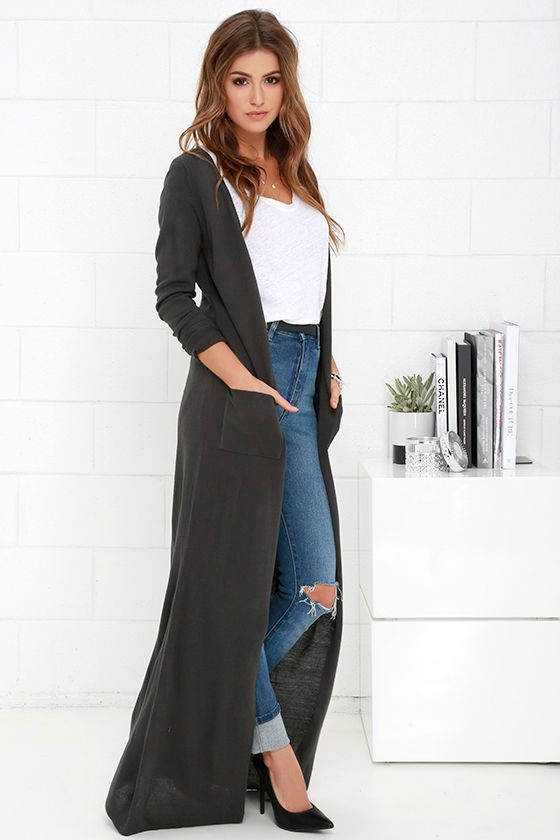 The Long Haul Dark Grey Long Cardigan Sweater | Long cardigan ...