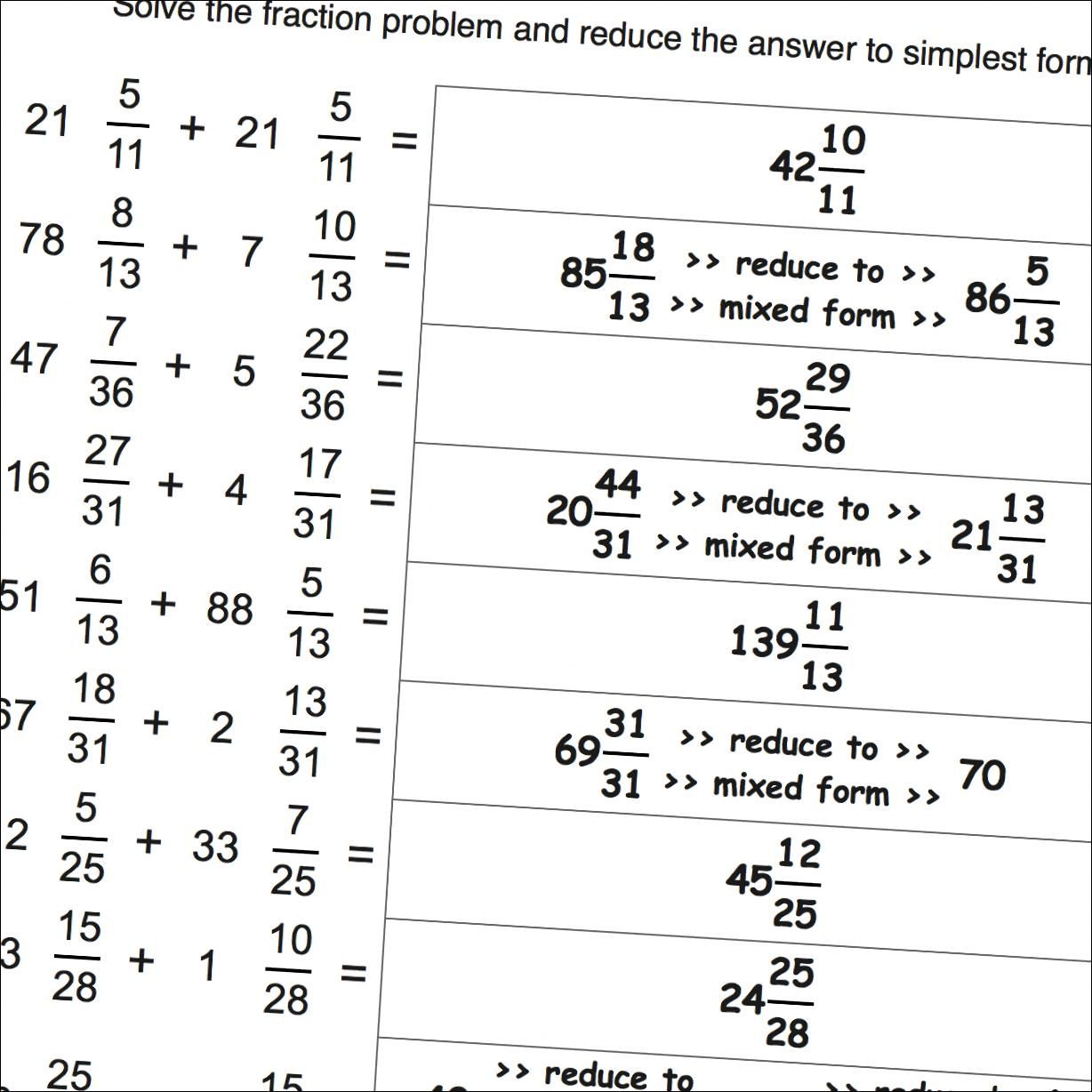 Mixed Fractions Worksheets With Common Denominators And