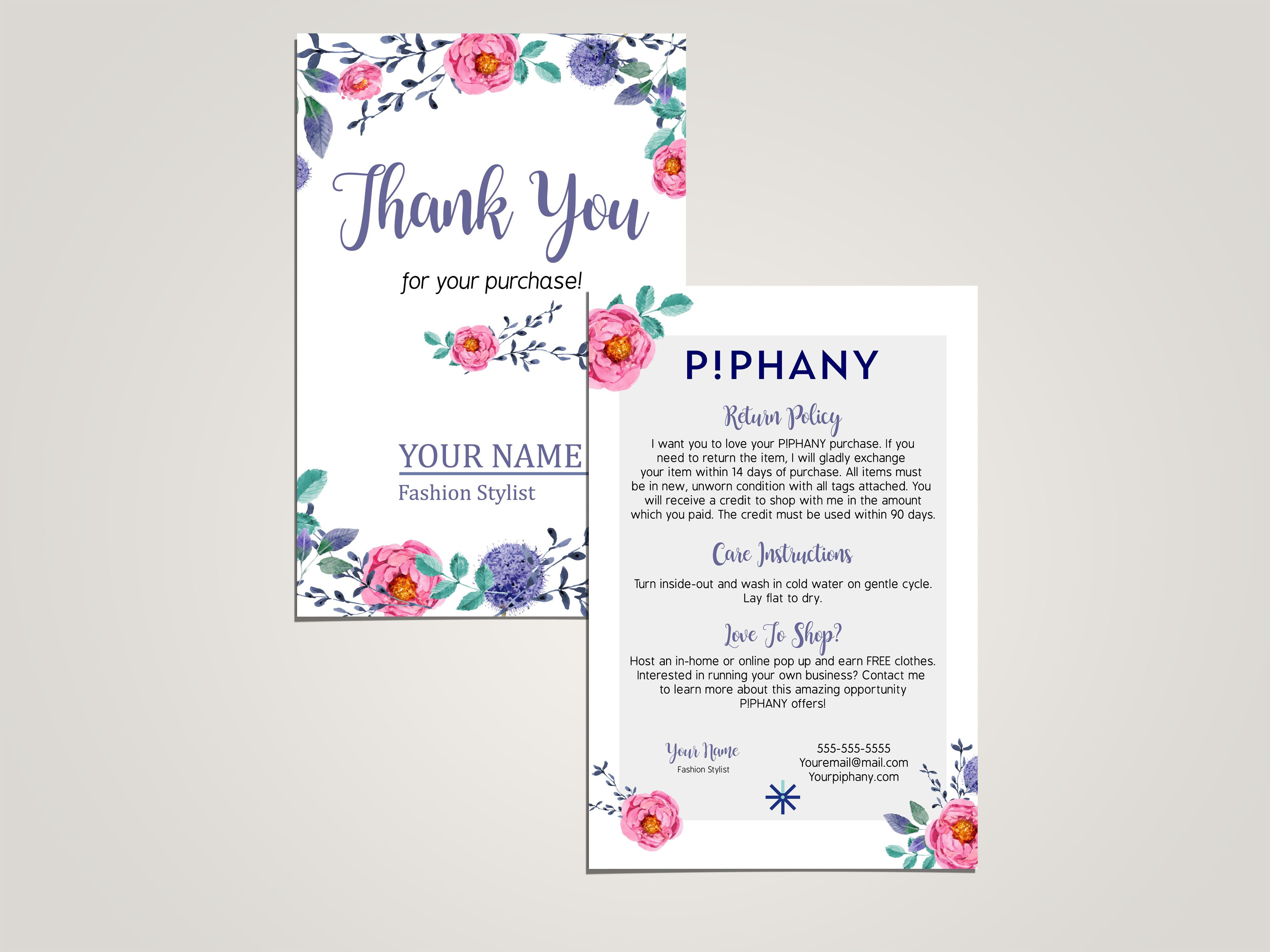 Piphany thank you card and how to care card watercolor all marketing material to grow up for your independent business at kakao designs digital and printed goods for direct sales business kristyandbryce Gallery