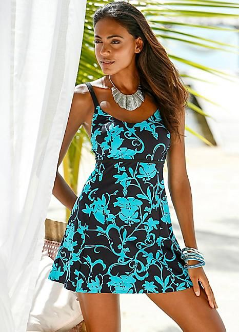 7149bdcfca Turquoise Floral Printed Shaper Swim Dress by bpc selection ...