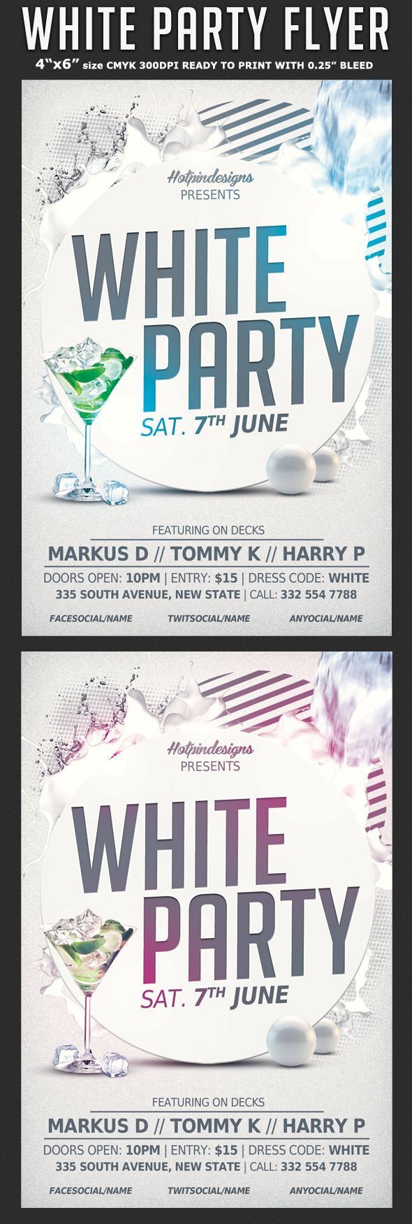 White Affair Party Flyer Template By Christos Andronicou Via